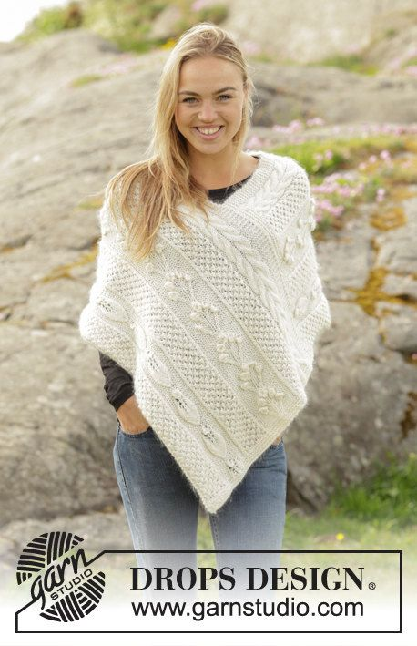 Summer Winter Hand Knit 100% PURE WOOL Lace PONCHO for women ...