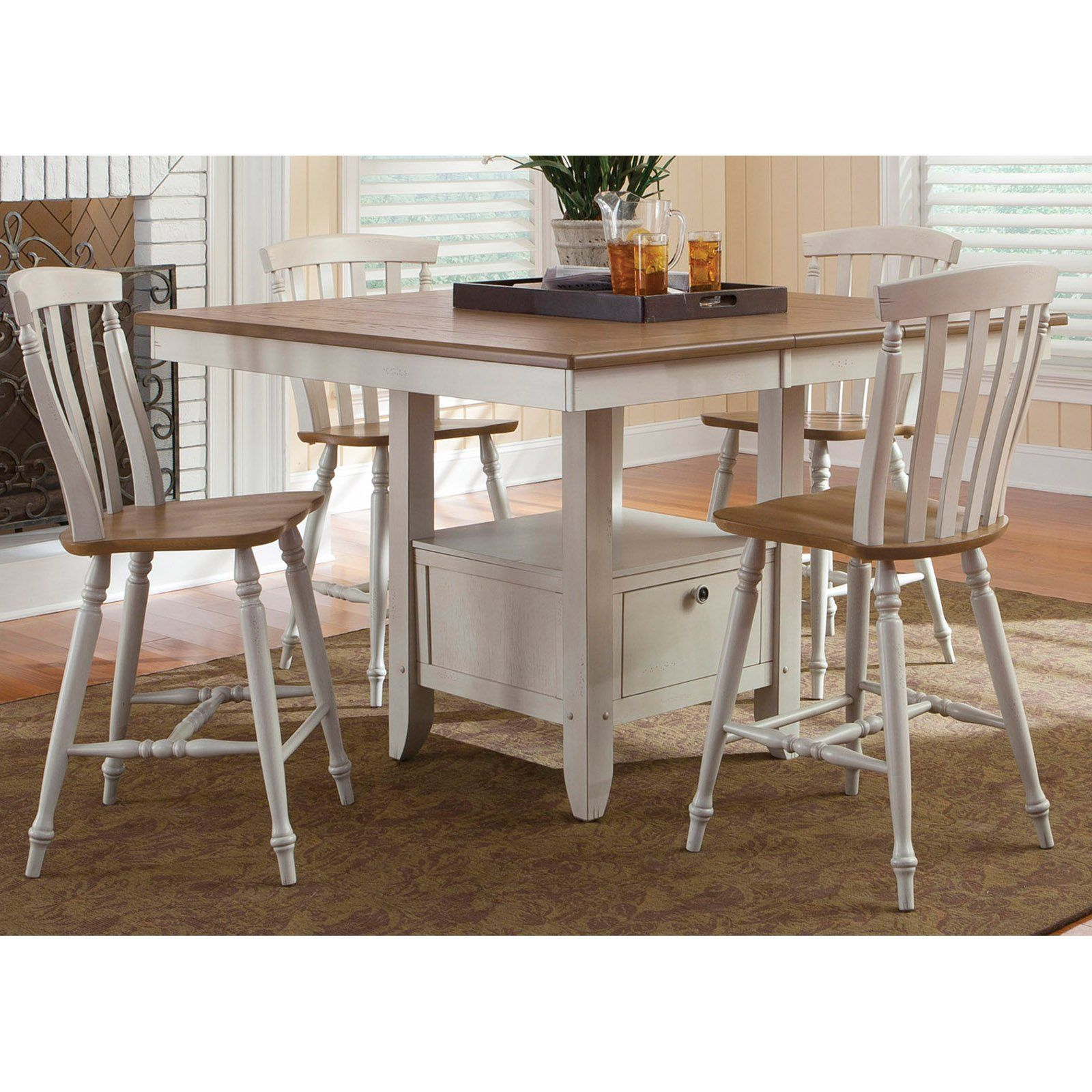 Liberty Furniture Canton 5-piece Counter-Height Gathering Table ...