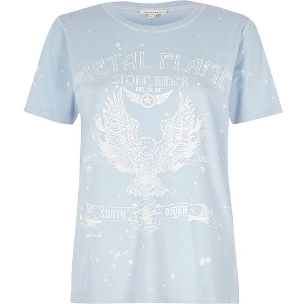 826c505ea5627 River Island Blue  Metal Flame  band print T-shirt ( 20) ❤ liked on Polyvore  featuring tops