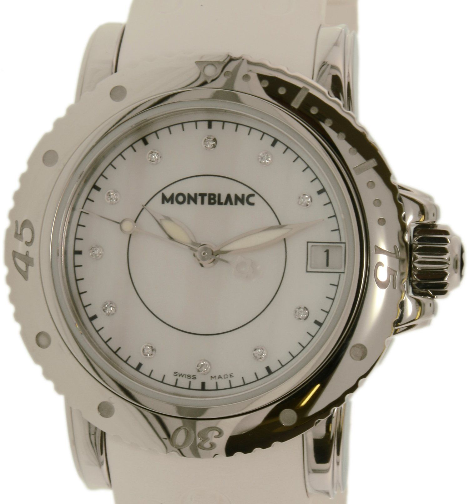 Montblanc Women's Sport 103893 Silver Rubber Swiss Quartz Watch. Sport Collection. Swiss Quartz Movement. 30 Meters / 100 Feet / 3 ATM Water Resistant. 35mm Case Diameter. Mineral Crystal.