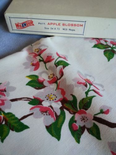 "Vintage Wilendur Tablecloth 6 Napkins Apple Blossom 54"" x 72"" 