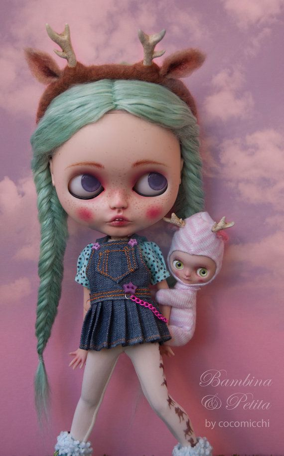OOAK custom Neo Blythe doll and Petite Blythe: Bambina & Petita