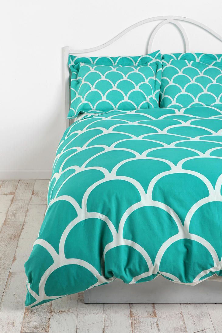 This bedding is perfect for our drunken mermaid guest room. WANT  This bedding is perfect for our drunken mermaid guest room