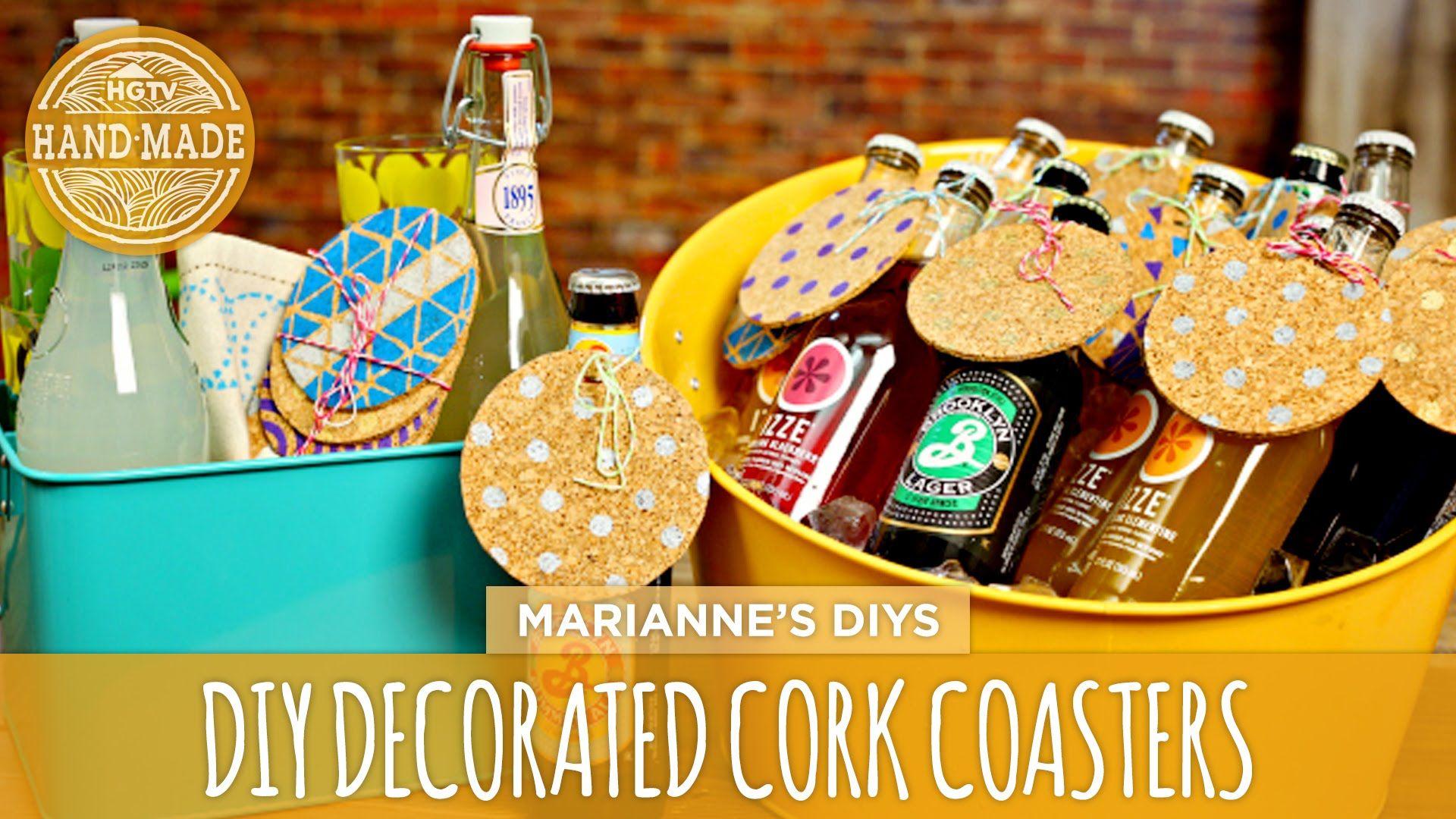 Diy decorated cork coasters hgtv handmade cork