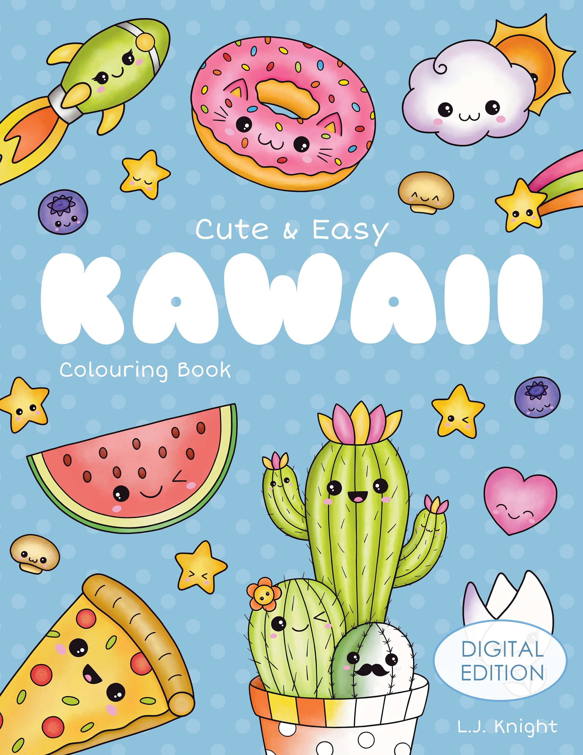 Cute And Easy Kawaii Colouring Book Printable Pdf Download Etsy Coloring Books Coloring Book Download Colouring Pages