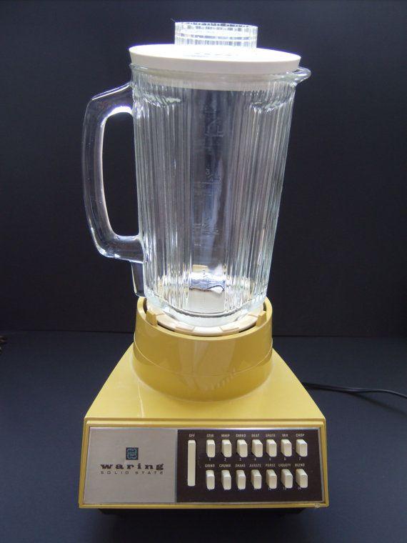 Vintage Waring Blender Solid State Mustard Yellow 70s 1970s
