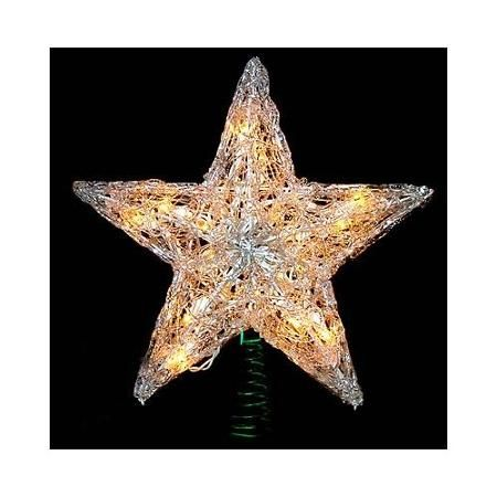 12 lighted crystal style star christmas tree topper clear lights walmartcom - Walmart Christmas Tree Toppers