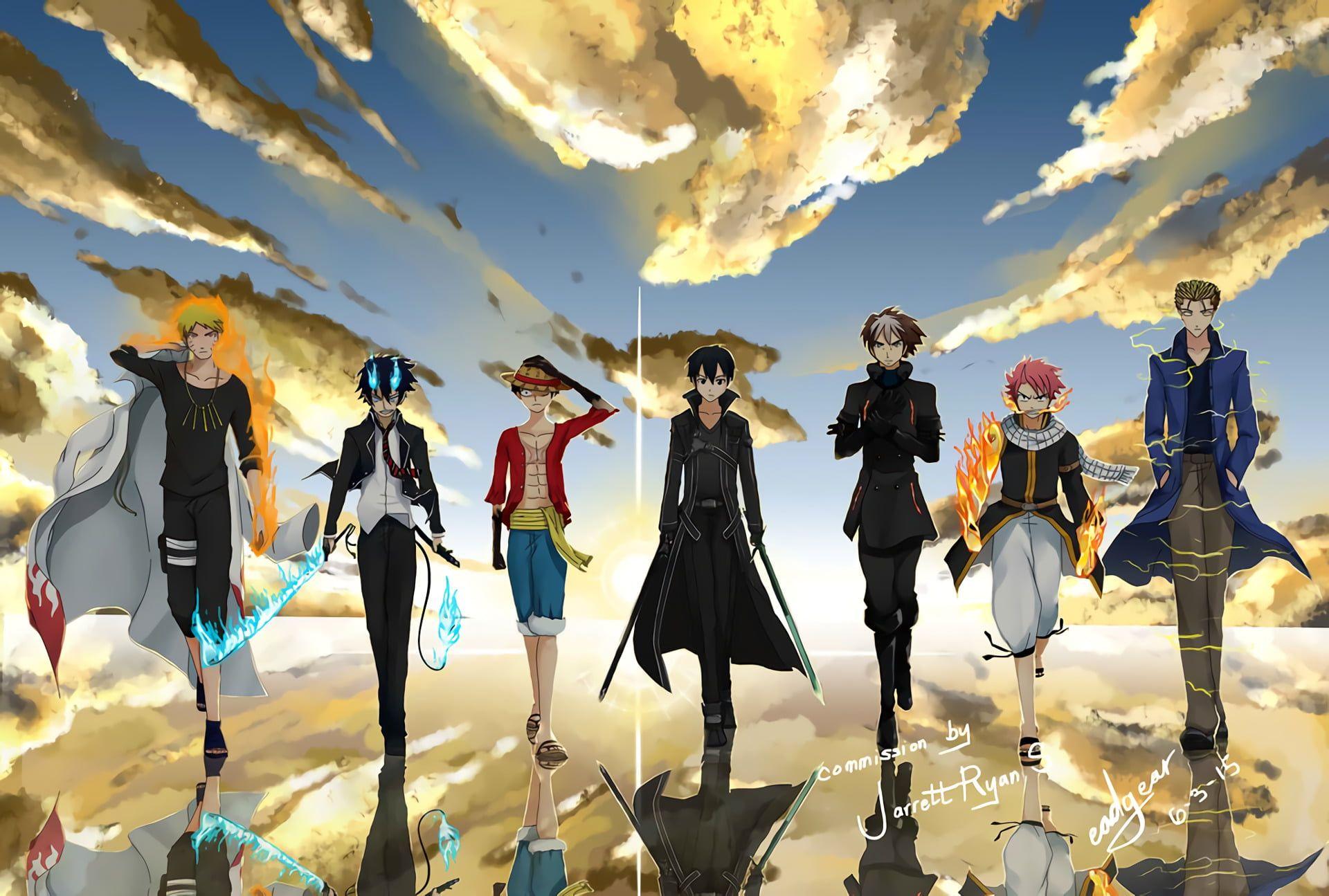 One Piece Character Wallpaper Anime Crossover Blue Exorcist Fairy Tail Kazuto Kirigaya Kirito S Anime Wallpaper Live Anime Crossover Blue Exorcist Wallpaper Anime crossover wallpaper 1920x1080