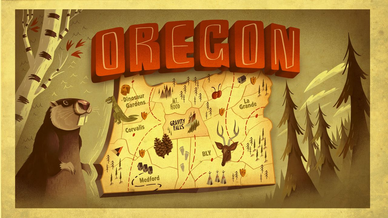 The fictional version of Oregon from Gravity Falls | Maps and such