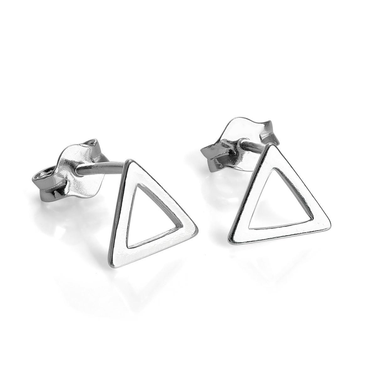 Sterling Silver Open Triangle Stud Earrings wLnPN8