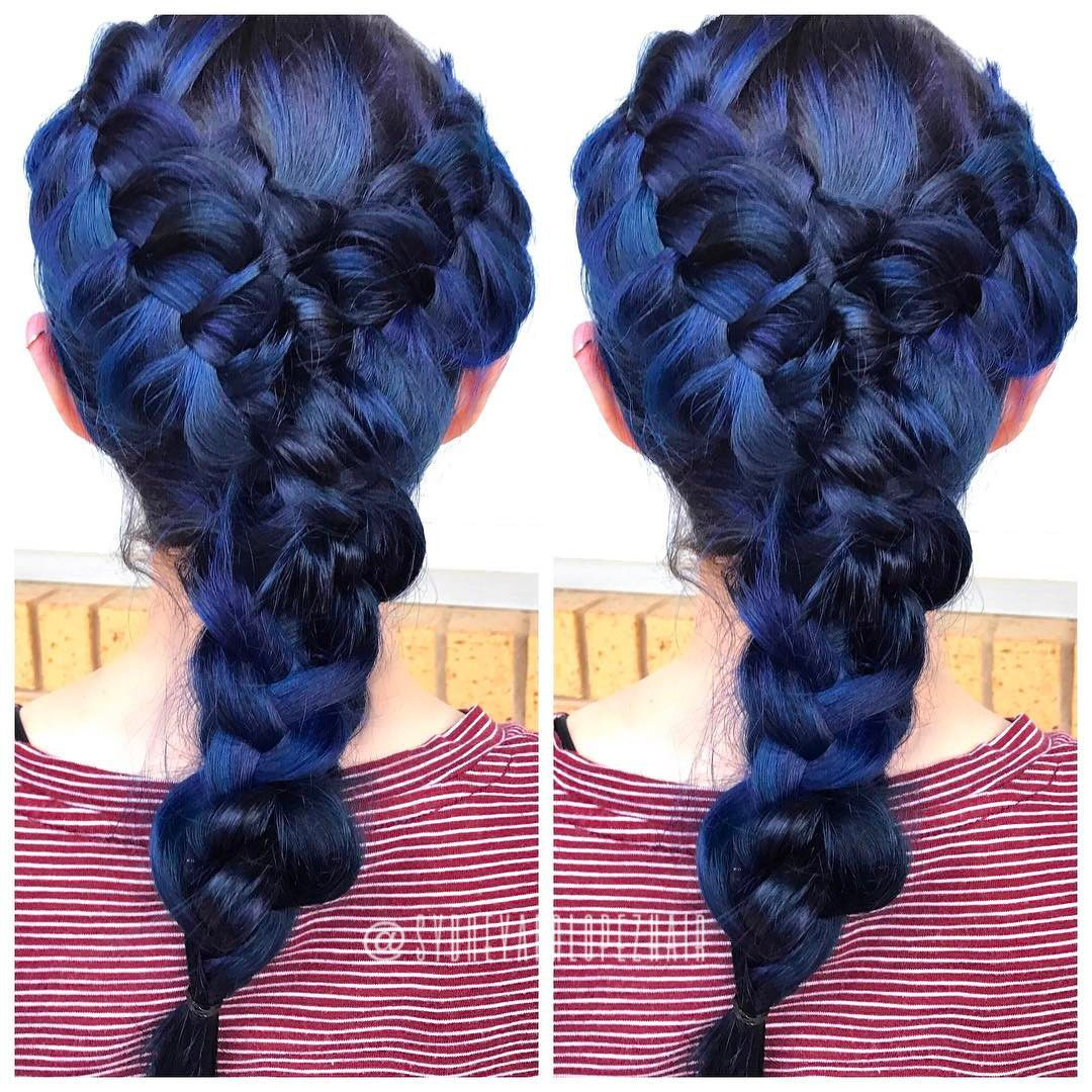 Braided galaxy hair used olaplex at every step of course