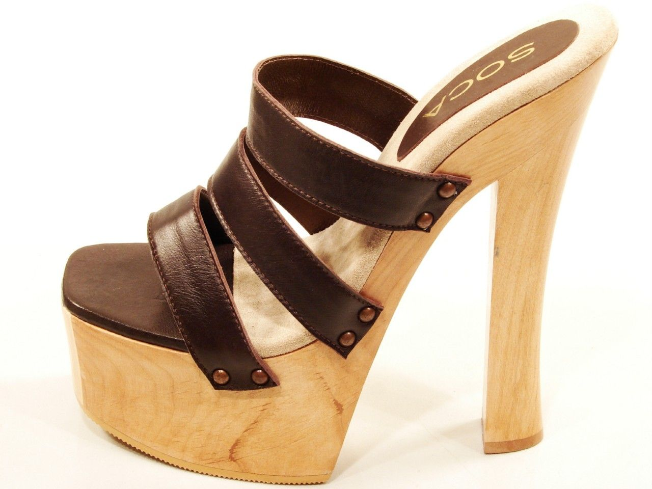 243a12c33e26 Soca Sandy Brown High Heel Wood Platform 3 Band Slip on Mules Sandals Clogs