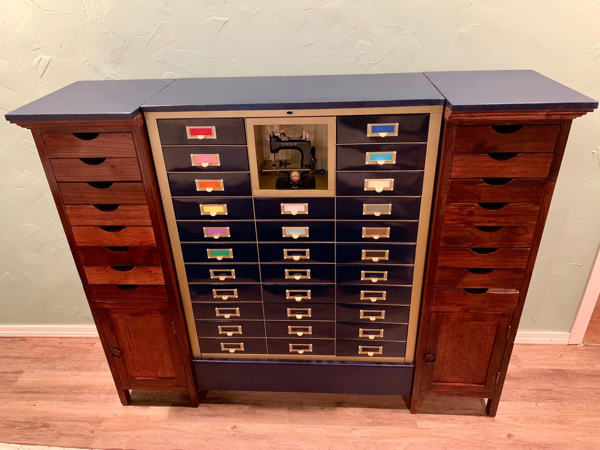 Storage Piece Made From Thrifted Old File Cabinets With A