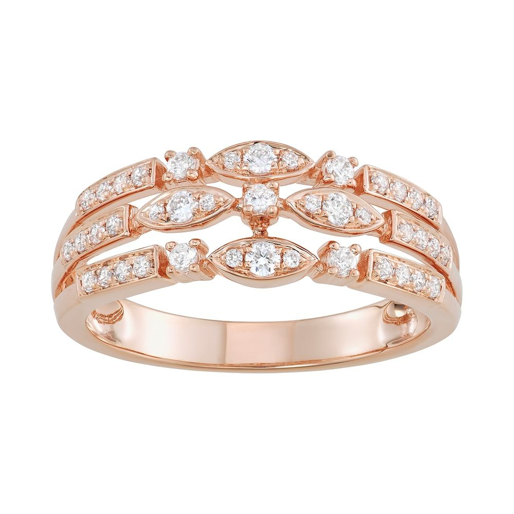 10k Rose Gold 3 8 Carat T W Diamond Triple Row Ring Women S Size 6 White Rose Gold Diamonds