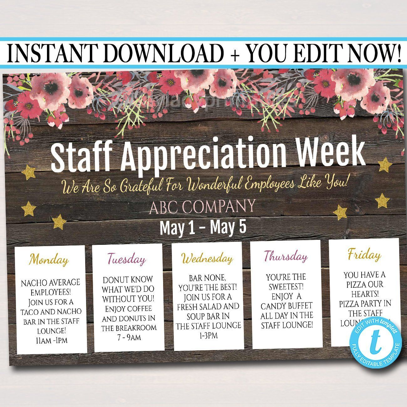 Staff Appreciation Week Itinerary Poster - Appreciation Week Schedule Events, Fundraiser Printables