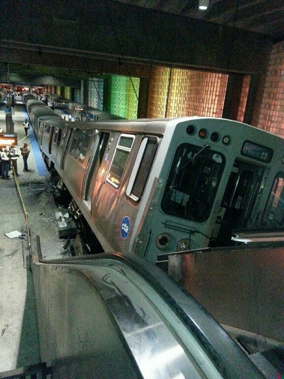 Blue Line train derails at O'Hare -- Chicago Tribune | Metro