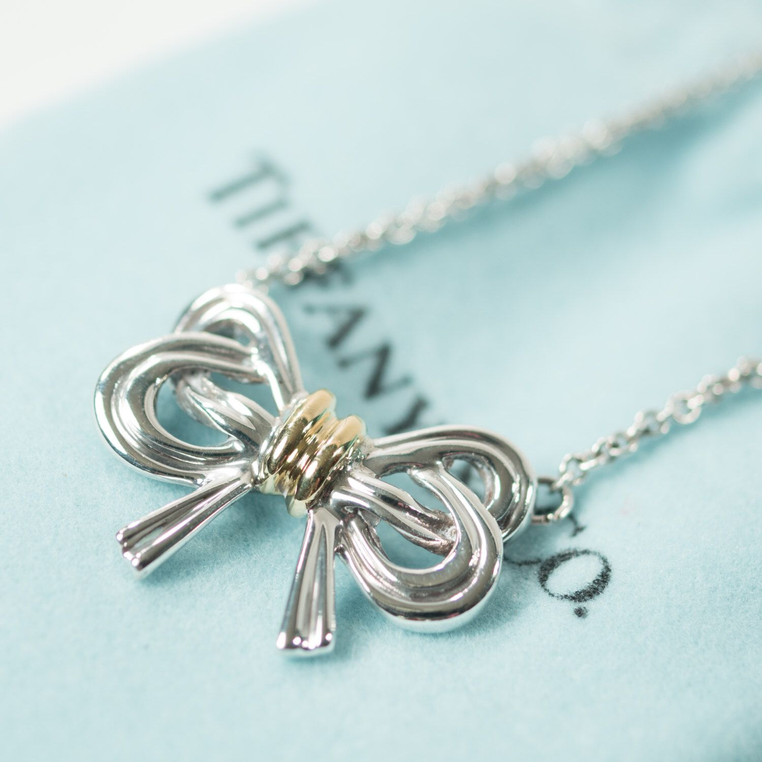 c074b1e643594 Tiffany   Co. Large Ribbon Necklace in Sterling Silver and 18k Gold ...