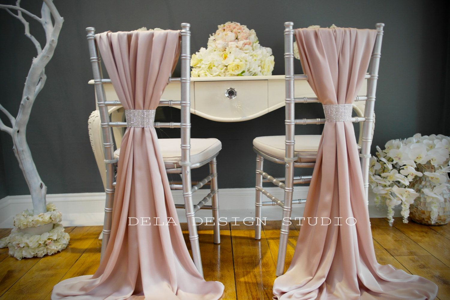 chair covers with pink bows hire edinburgh silky cover sash blush wedding by