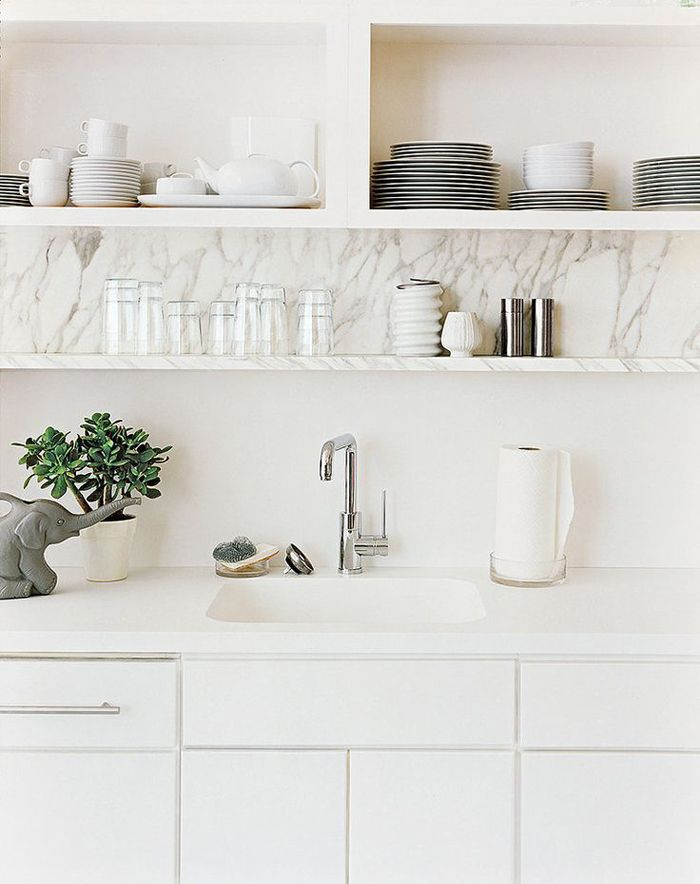 Awesome All White Kitchen With Open Marble Shelving