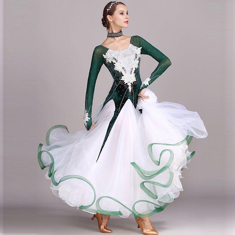 45ad1e7fb517 Online Shop Verde strass Ballroom dance dress concorso standard abiti  moderni costume di ballo sala da