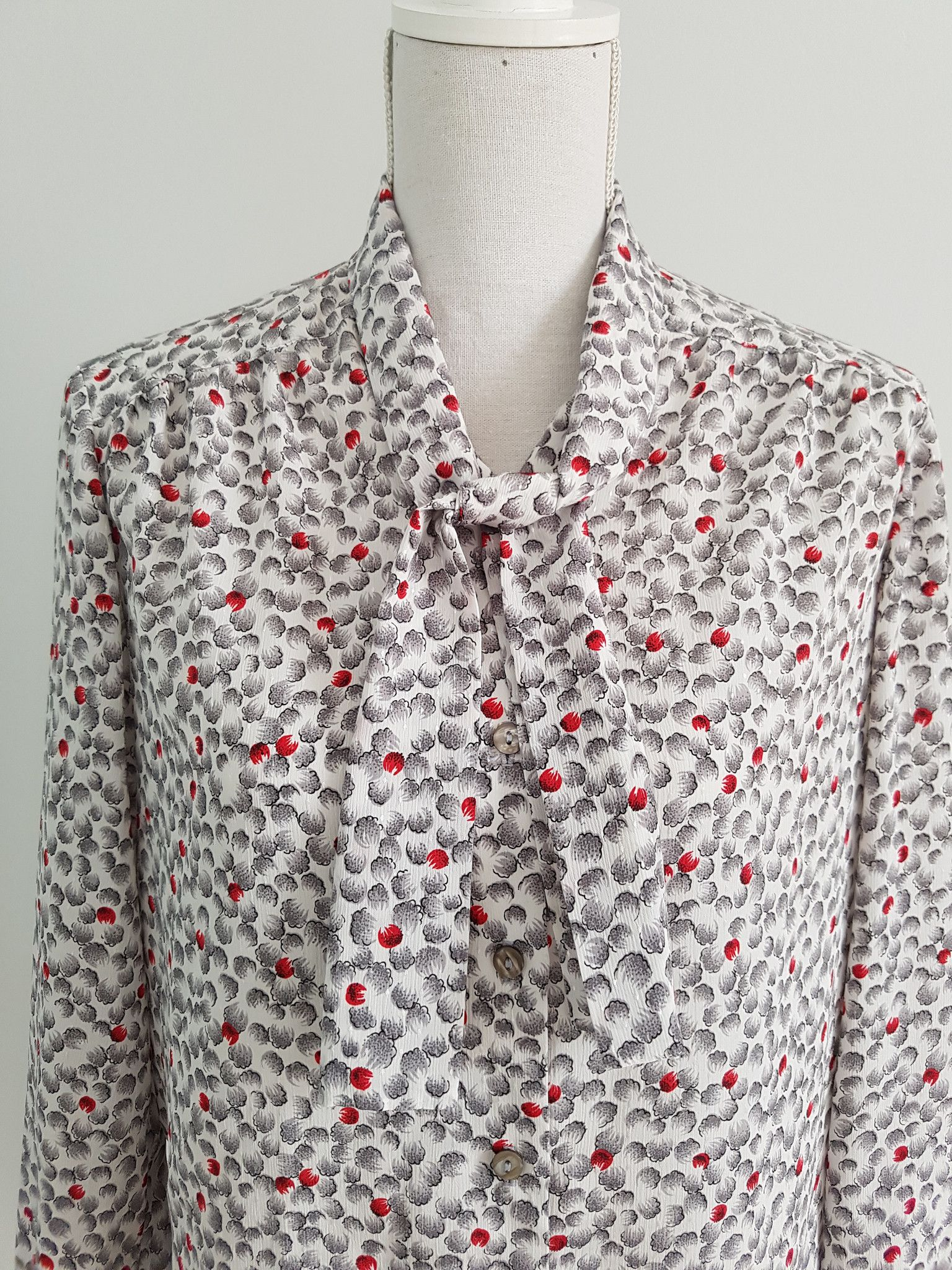 Eastex red berry pussy-bow blouse