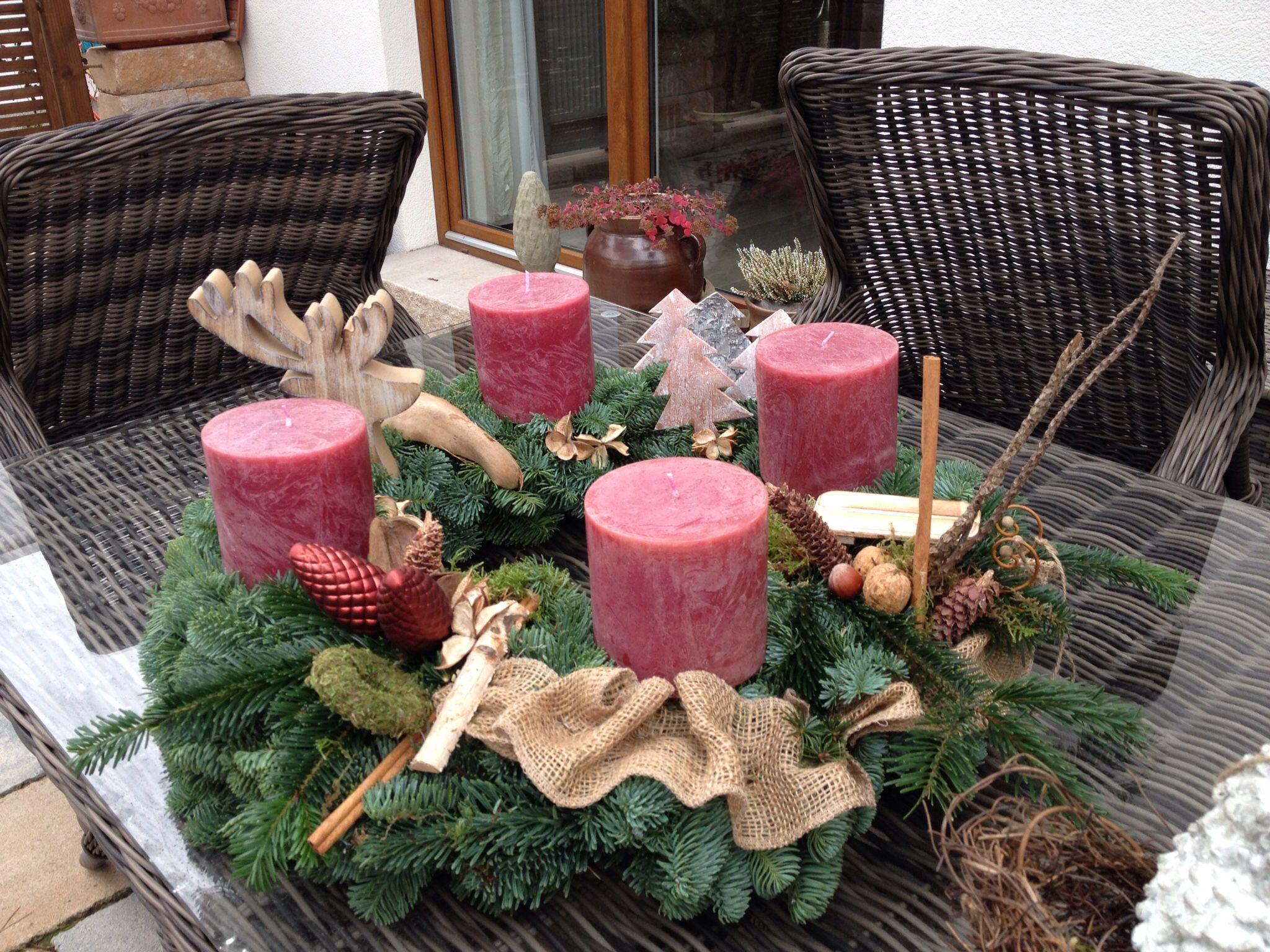 Adventskranz gro christmas weihnachten kr nze for Pinterest adventskranz