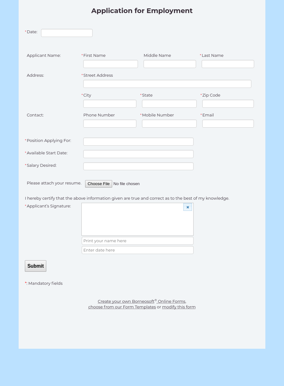 Application For Employment Form By Borneosoft Online Forms