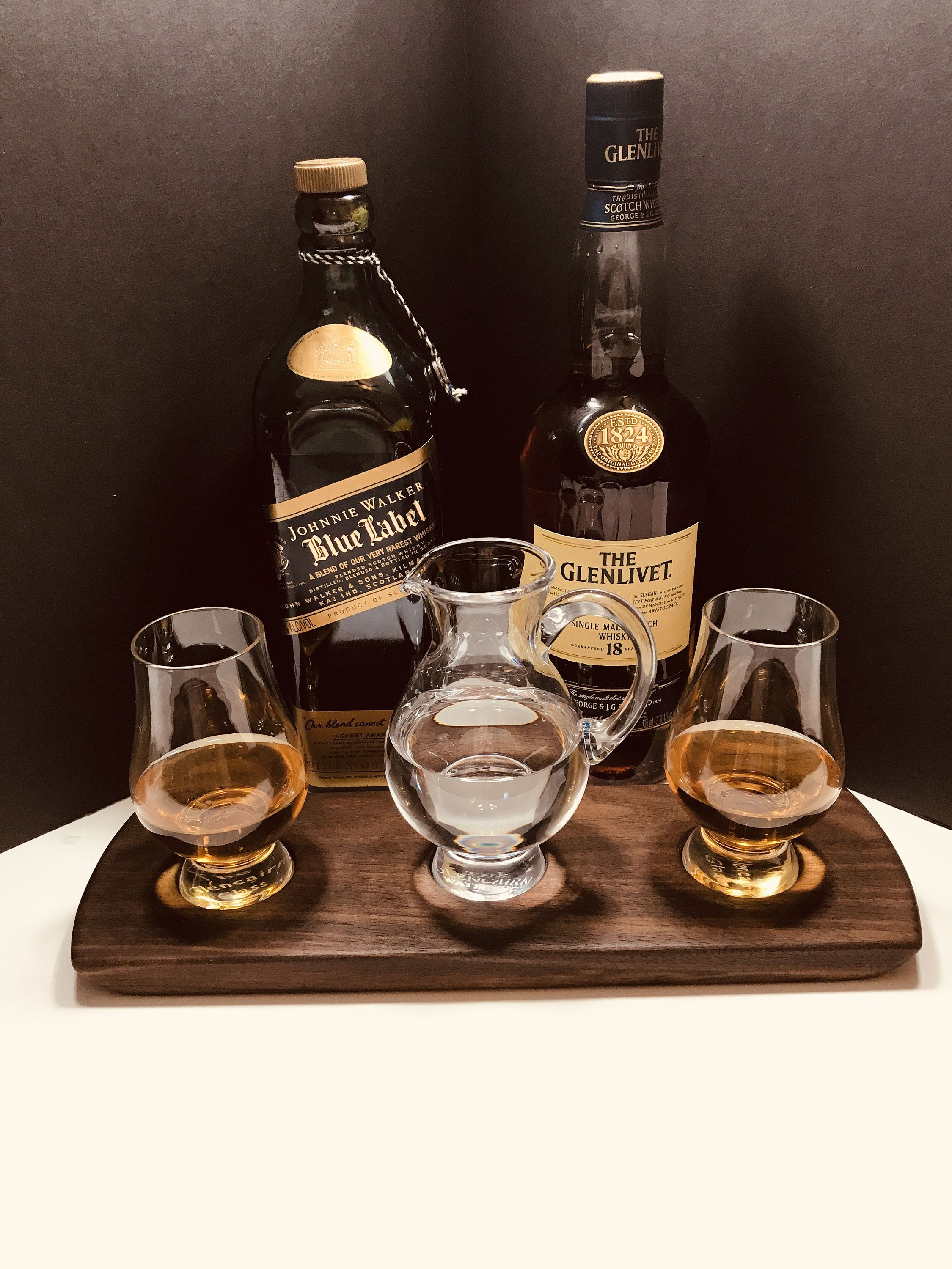 Photo of Whisky Whiskey Bourbon Scotch Tasting Flight – Solid Walnut Serving Tray  2 Glencairn Glasses & Water Pitcher Jug – Can Be Personalized