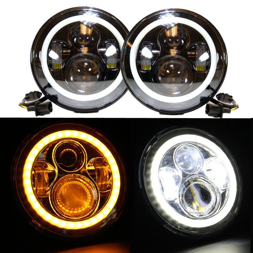 1pair 7inch Led Headlight High Low Beam Yellow Truning