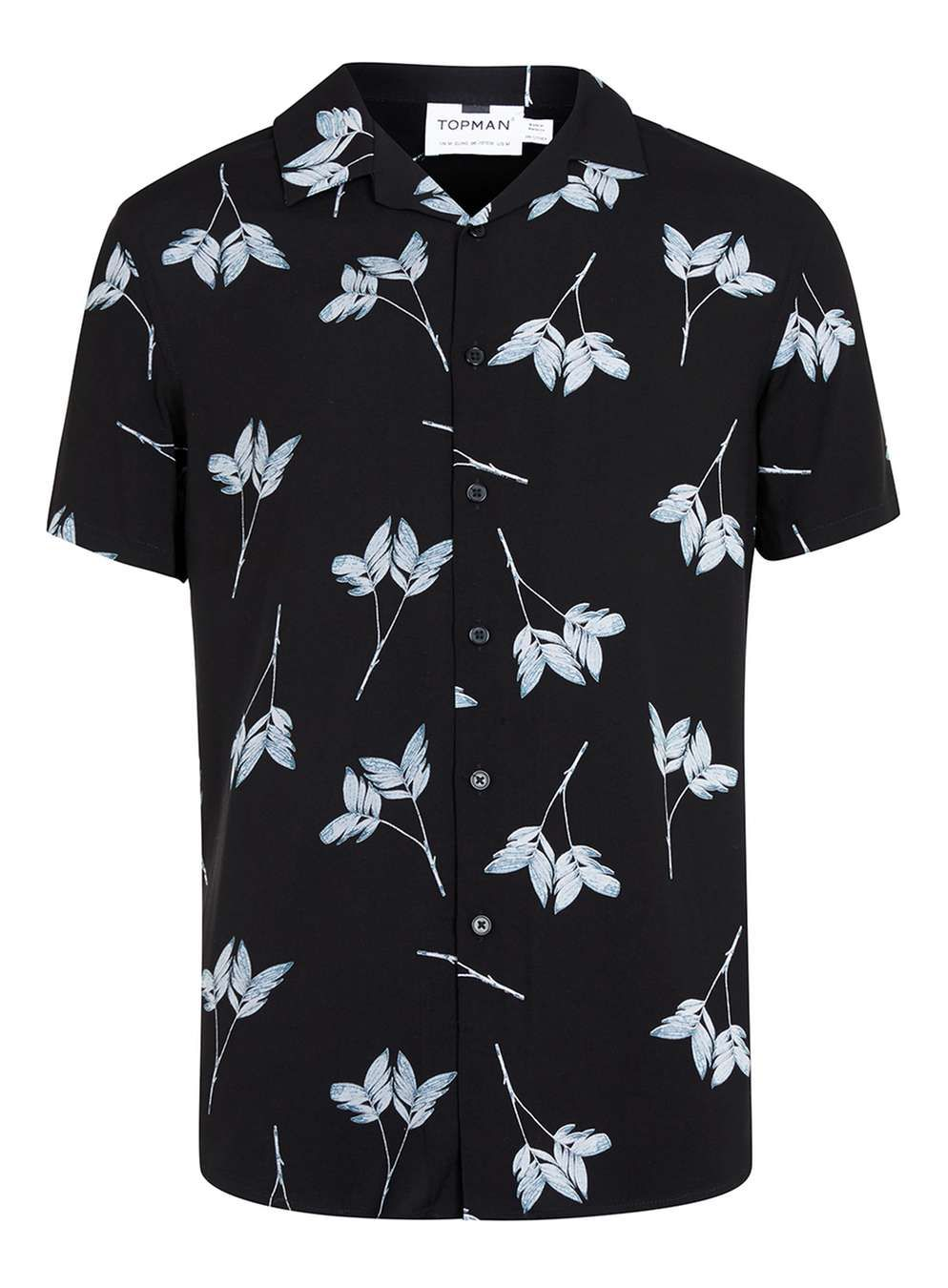 New Mens ID Short Sleeve Button Up White Shirt Blue Leaf Tree Print Front Pocket