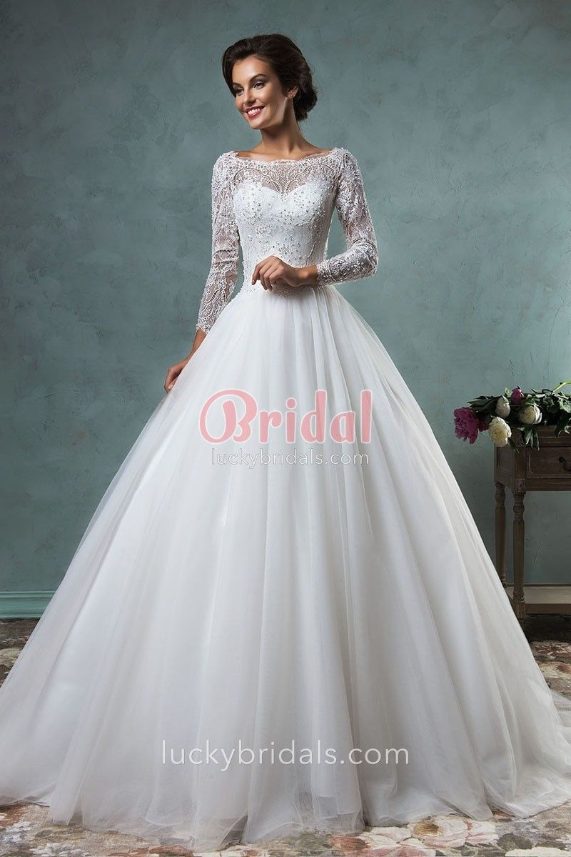 Illusion Pearls Beaded Sheer Long Sleeve Ball Gown Tulle Wedding