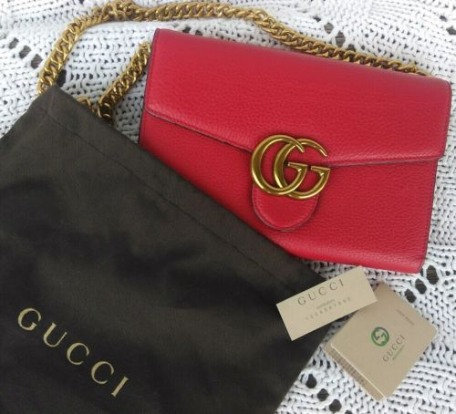 3565c7b4602a4b Details about NWT Gucci GG Marmont Matelassé Red Leather Mini Chain ...