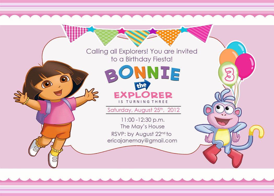 Download FREE Template Dora The Explorer Birthday Party Invitations