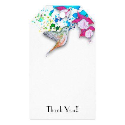 Hummingbird Fuchsia Wedding Favor Gift Tags Floral Bridal Shower