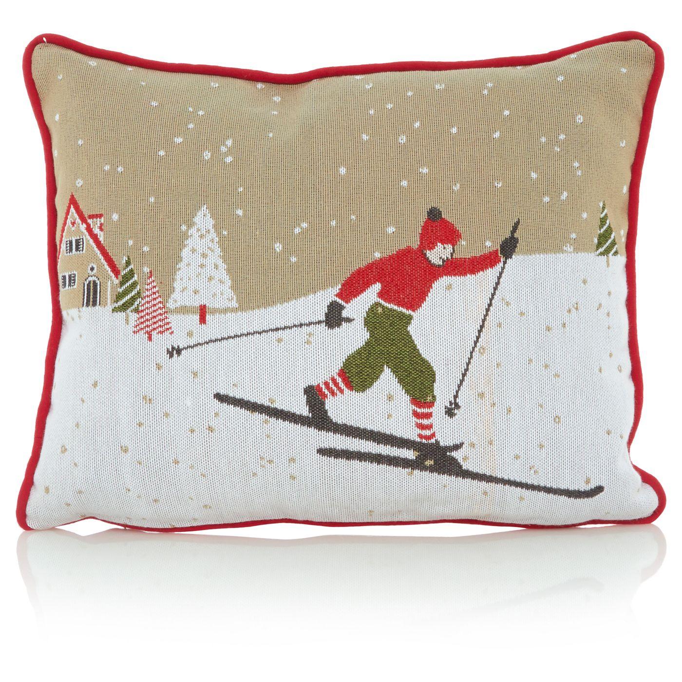 Asda Online Christmas Decorations: George Home Ski Scene Cushion