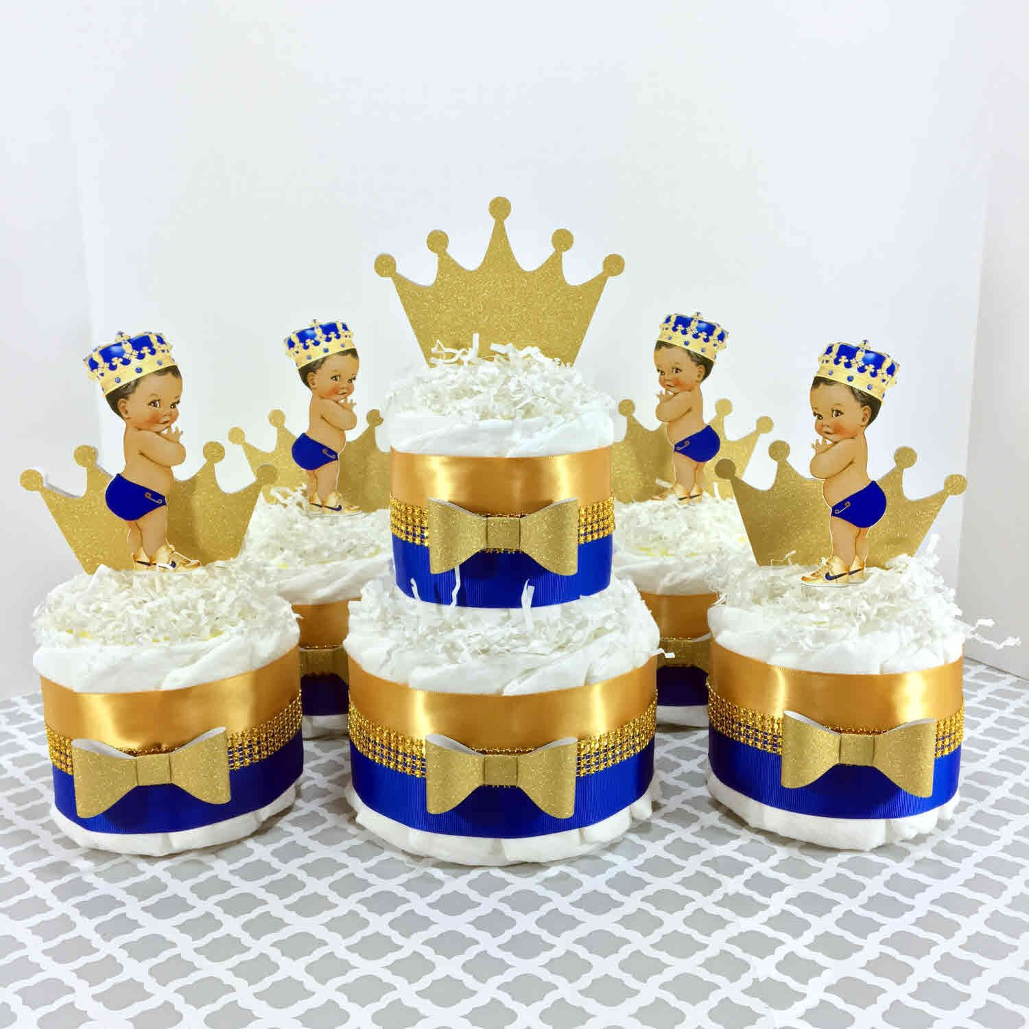 Royal Blue And Gold Little Prince Diaper Cake Centerpiece Set,