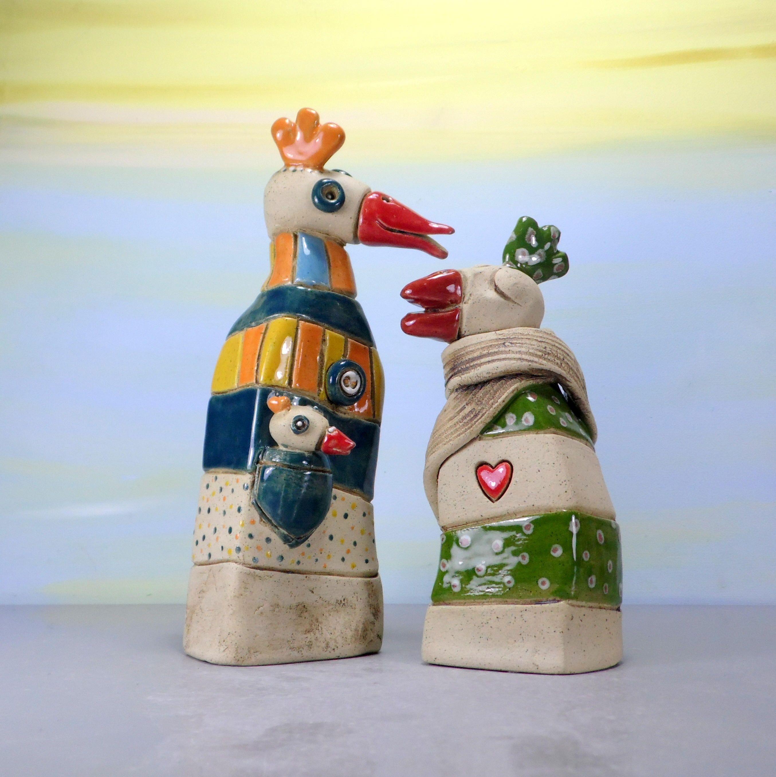 Set Of 2 Birds Sculpture Ceramic Birds Ceramic Sculpture Whimsical Animal Clay Birds Chicken Decor Bird Decor Dodo Bird Home Decor By Ceramic Birds Bird Sculpture Clay Birds