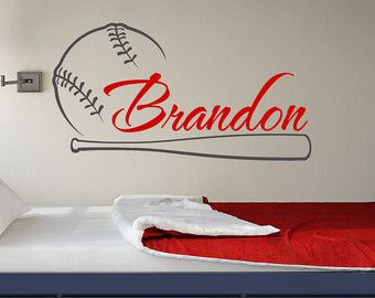 Baseball Wall Decal Name  Baseball Personalized Boy Decal  Boy Name Wall  Decals  Baseball Wall Art  Wall Decals Nursery Boys Teens Room 056