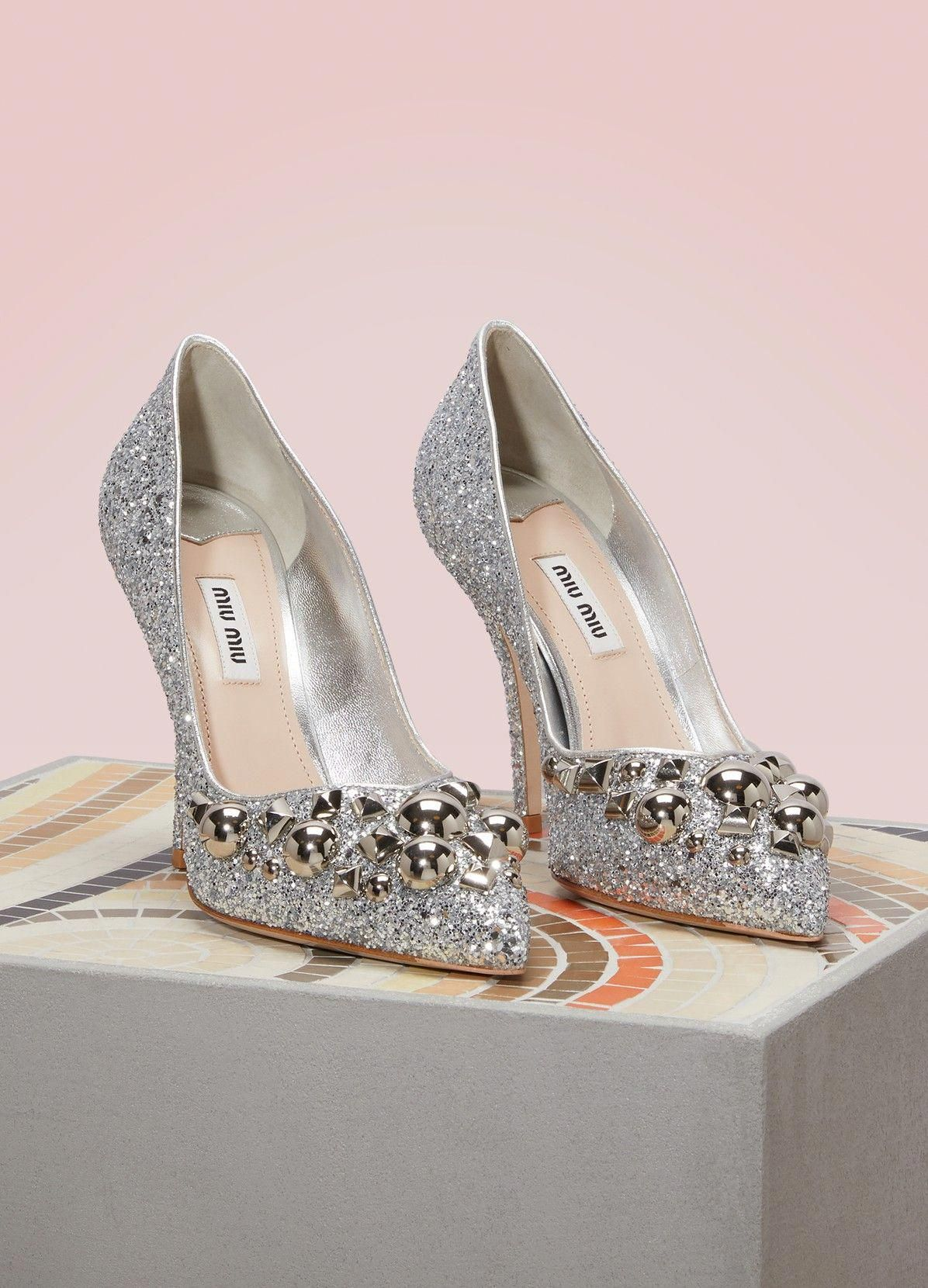 a74486c2871a Glitter leather pumps