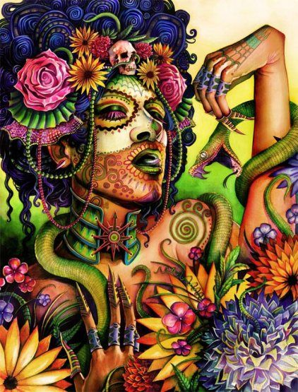 Tonacacihuatl's themes are ghosts, death and hope. Her symbols are flowers and all symbols of death.  In Mexico this Goddess's name means 'Our Lady of Flesh'. Tonacacihuatl is a creatrix who gives life to all things and to whom the spirits of children return at death.