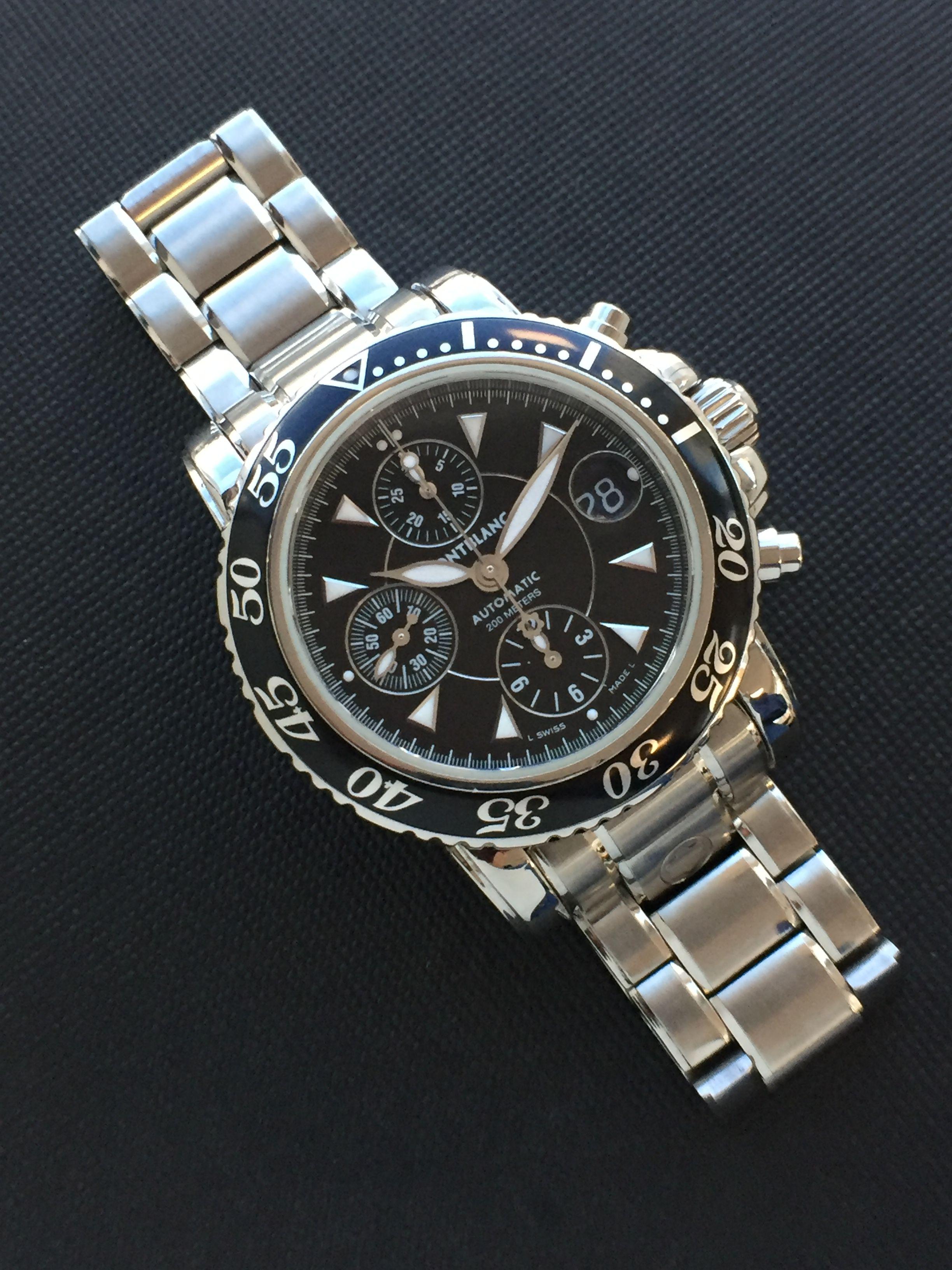 15d1ddf4292 Relógio Montblanc Sport Steel Cronógrafo Ref.  7034. Caixa e Pulseira em  Aço Inoxidável