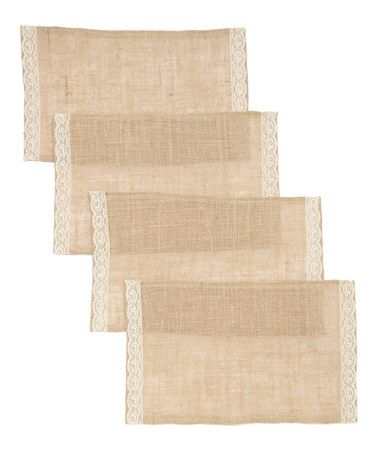 Another great find on #zulily! Burlap & Lace Place Mat - Set of Four #zulilyfinds ($25)