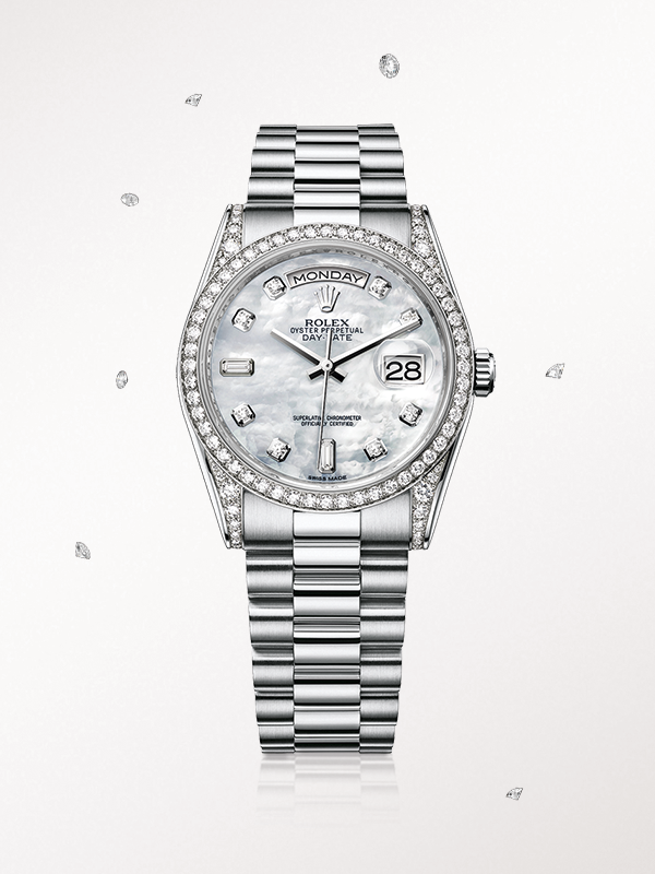 99e76692466 The Rolex Day-Date 36 in white gold, with a diamond-set mother-of-pearl dial  and President bracelet.