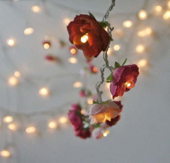 String Lights With Flowers : Bohemian Garden Mixed Rose Fairy Lights Pretty Flower String Lighting in Red and Pinks ...