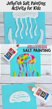 Jellyfish Salt Painting Activity For Kids - Art  Salt is such a fun medium for a... - #activity #jellyfish #medium #painting - #Salts