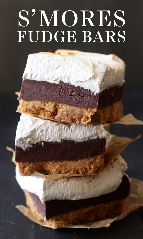 S'mores Fudge Bars have a thick layer of buttery graham cracker crust, fudgy chocolate filling, and a homemade toasted marshmallow topping. Perfect easy summer dessert recipe! Fudge Bars have a thick layer of buttery graham cracker crust, fudgy chocolate filling, and a homemade toasted marshmallow topping. Perfect easy summer dessert recipe!