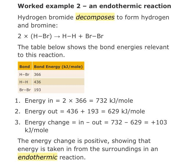 The Decomposition Of Hydrogen Bromide Is Endothermic Science