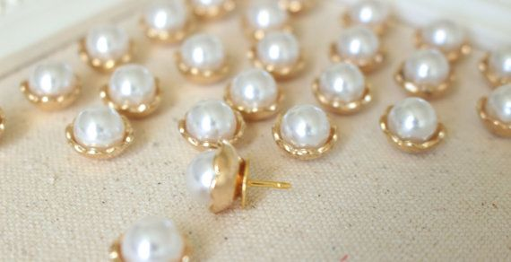 Gold Pearl Decorative Thumbtack Round Ivory by fluteofthehour