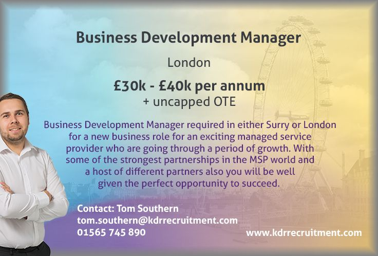 New Job Business Development Manager needed in London. To