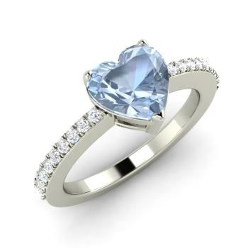 Heart-Cut Aquamarine Ring in 14k White Gold with SI Diamond